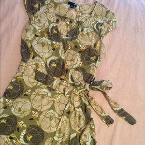 Green floral H&M wrap dress